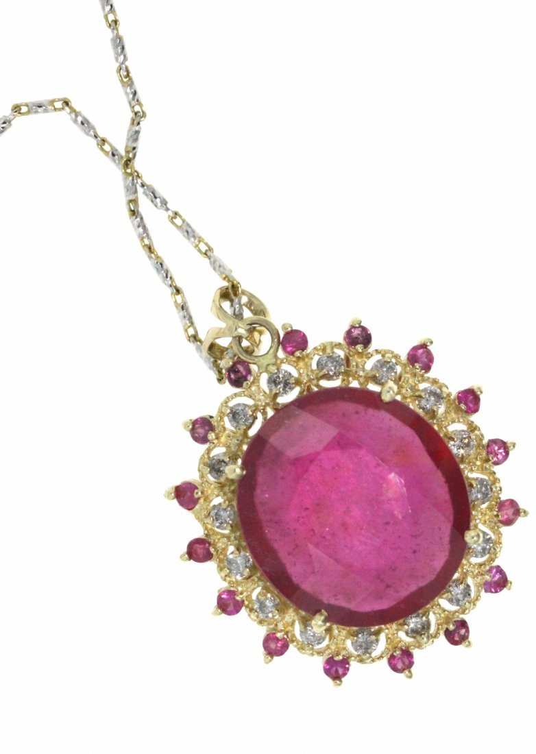 14KT Yellow Gold 23.89ct Ruby & Diamond Necklace RM472