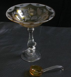 Amber Compote with Etched Leaves and Flowers ED28