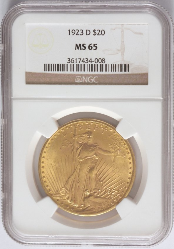 1923-D $20 NGC MS65 St. Gaudens Double Eagle Gold Coin