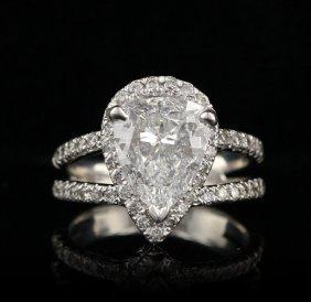 14KT White Gold 2.93tcw Diamond Ring GIA VS-1/D GB136