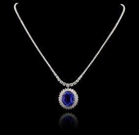 18KT White Gold 21.62ct Tanzanite and Diamond Necklace