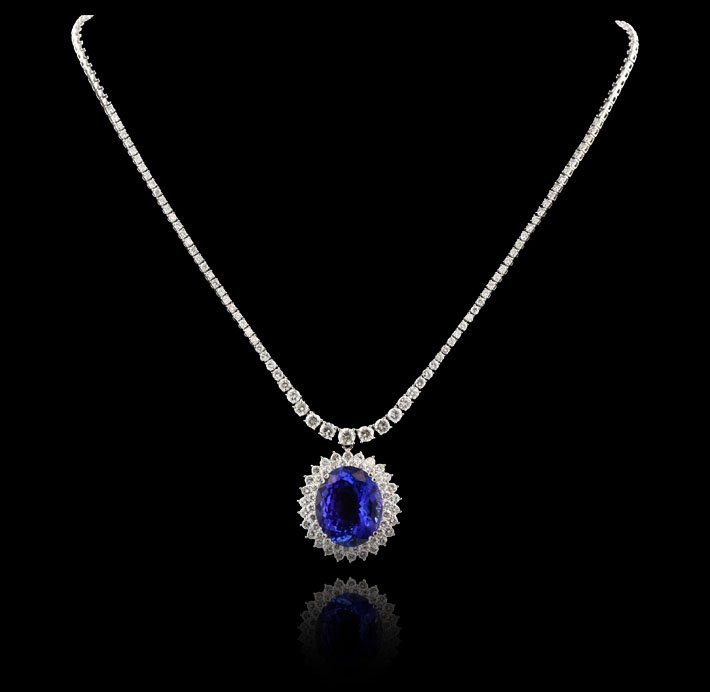 18KT White Gold 21.62ct Tanzanite and Diamond Necklace