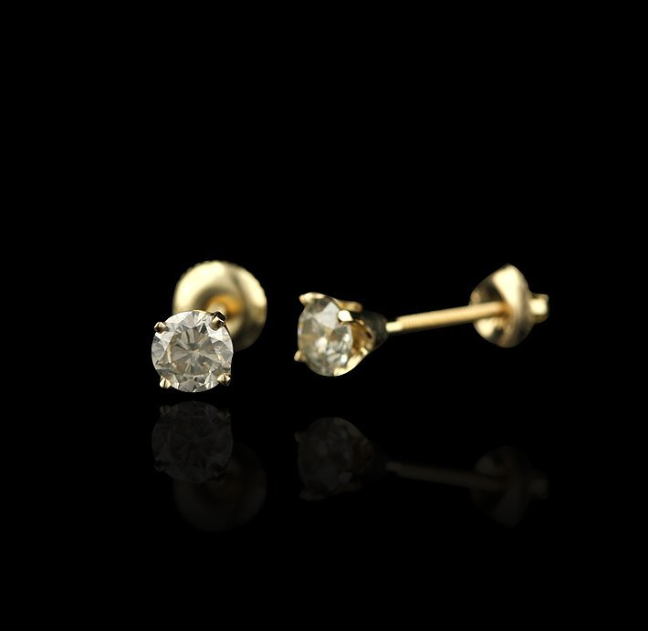 14KT Yellow Gold 1.11tctw Diamond Stud Earrings RM690