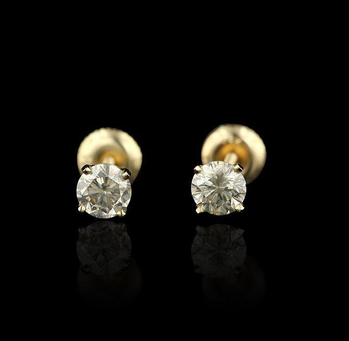 14KT Yellow Gold 1.11tctw Diamond Stud Earrings RM690 - 2