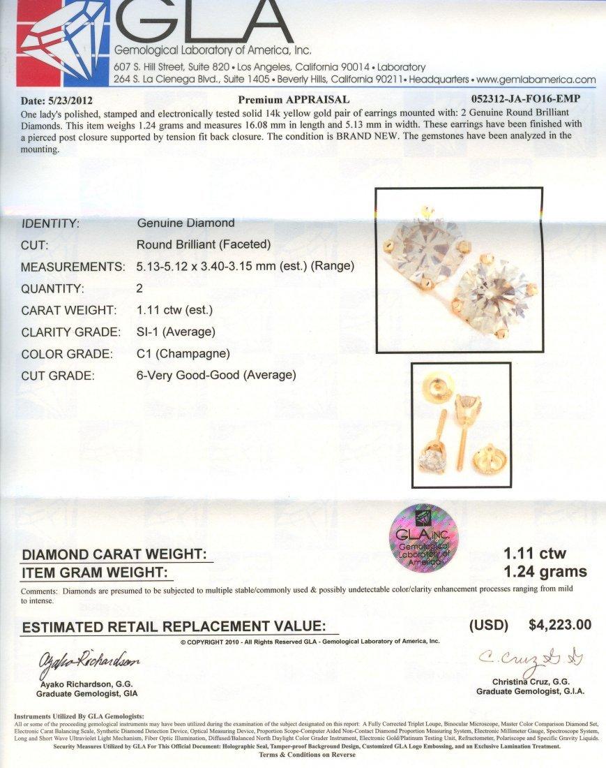 14KT Yellow Gold 1.11tctw Diamond Stud Earrings RM690 - 3