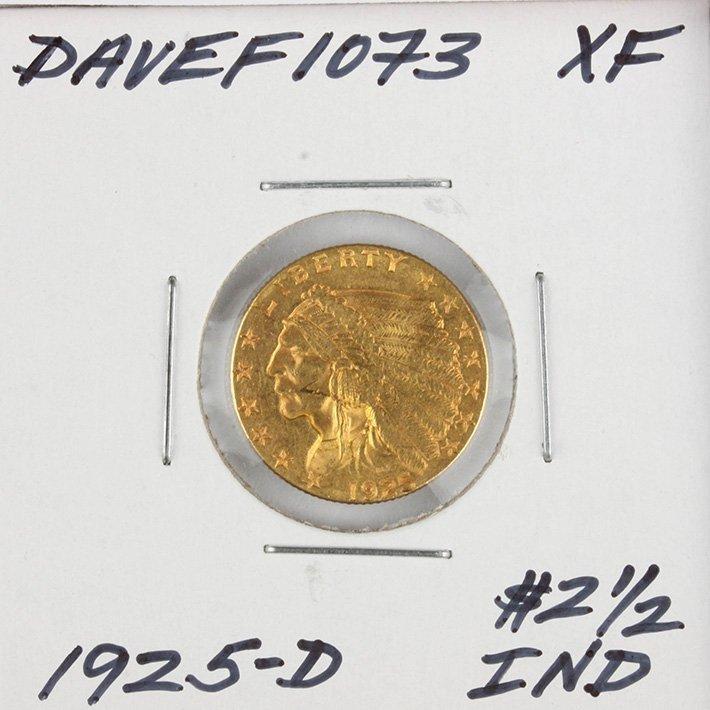 1925-D $2 1/2 XF Indian Head Quarter Eagle Gold Coin Da