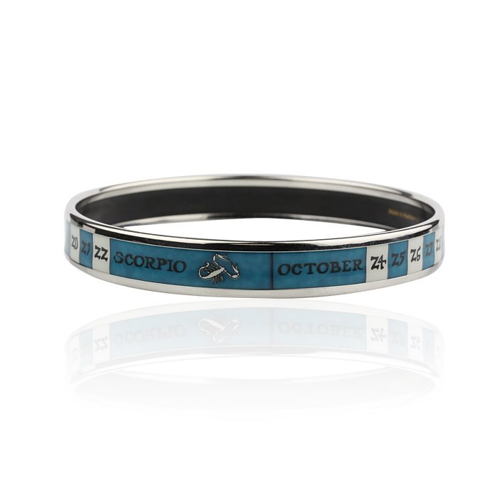 Hermes Scorpio Astrology Sign Enamel Bangle Bracelet GB