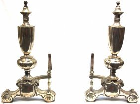 Pair Of Modern Silvered Metal Andirons ED1329