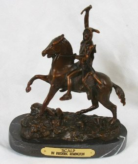 Frederic Remington Bronze Statue Reproduction - Scalp