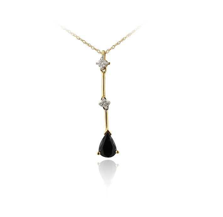 14KT Yellow Gold Black Onyx and Diamond Pendant with Ch