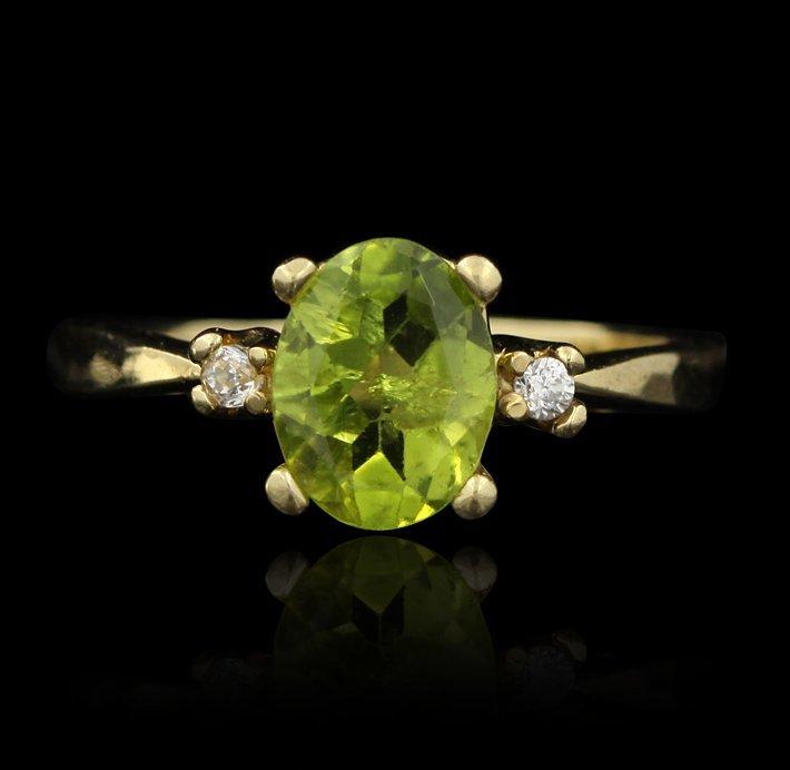 14KT Yellow Gold Peridot and Diamond Ring GD117
