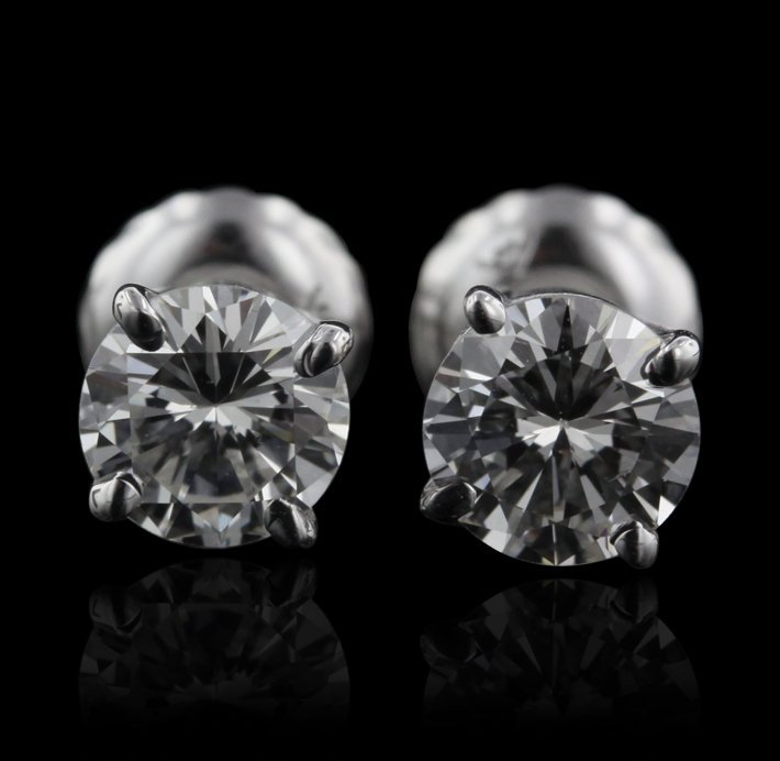 14KT White Gold 0.84ctw Diamond Solitaire Earrings A442