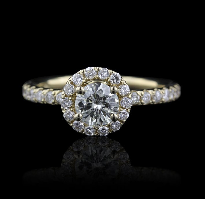 14KT Yellow Gold 0.88ct Diamond Ring A3793