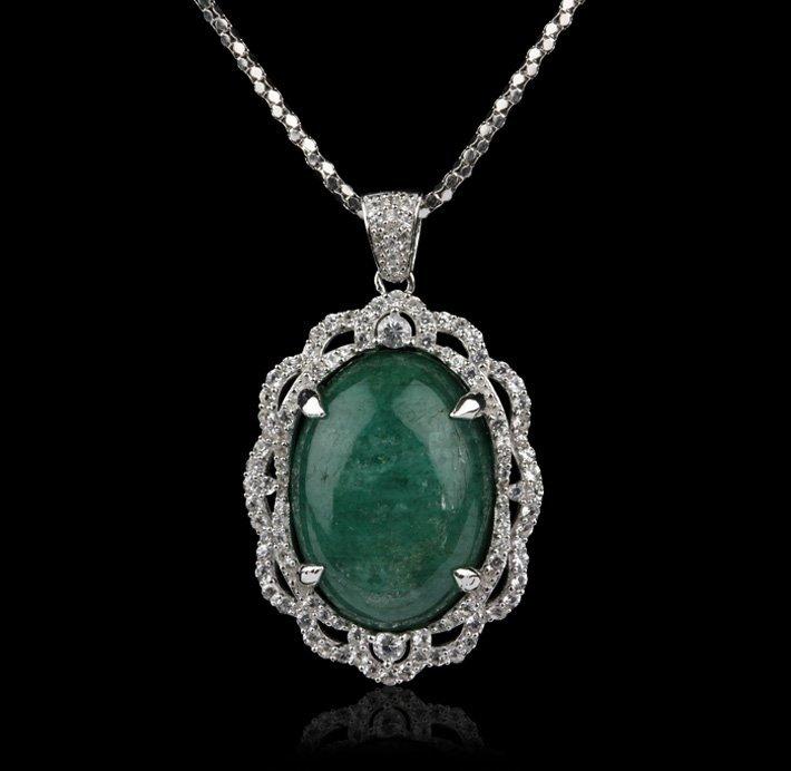 SILVER 28.99ct Emerald and White Sapphire Pendant RM754