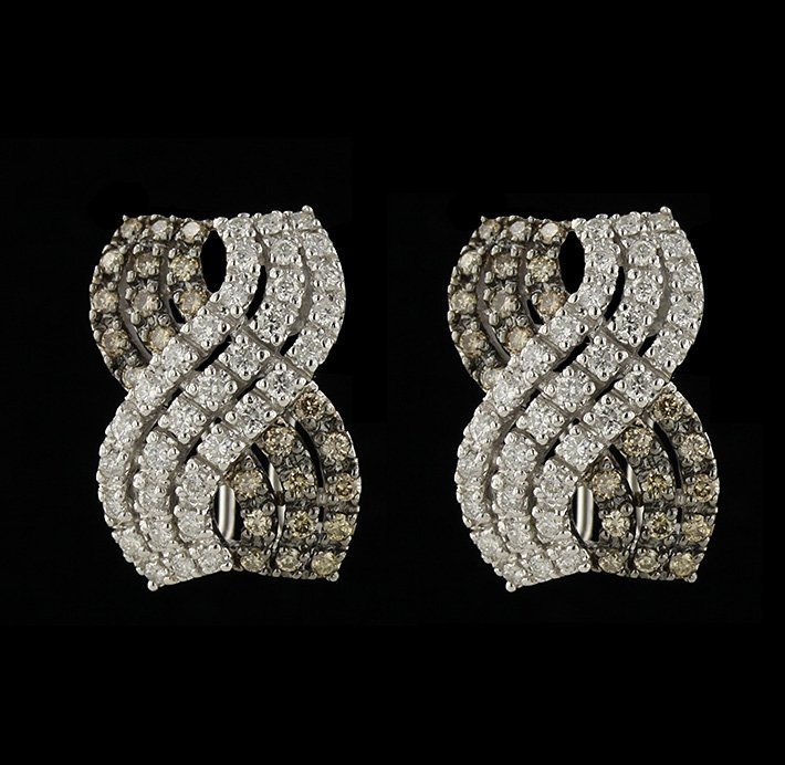14KT White Gold 1.72ctw Fancy Brown and White Diamond E