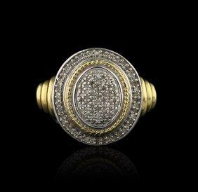 Vintage Designer JWBR Pave Diamond Sterling with Gold O
