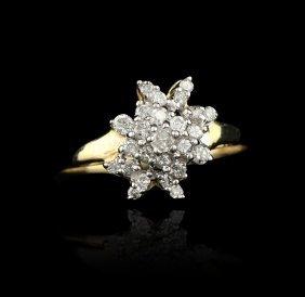 14K White Gold .25 Diamond Cluster Ring GB272