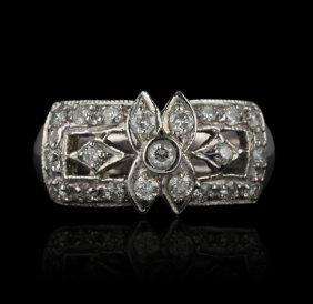 14KT White Gold 0.65ctw Diamond Ring GB575