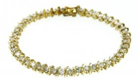 14KT Yellow Gold 3.33ct Diamond Tennis Bracelet A3506