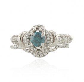 14KT White Gold 0.45ctw Blue and White Diamond Ring FJM