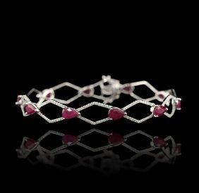 18KT White Gold 6.30ctw Ruby and Diamond Bracelet FJM19