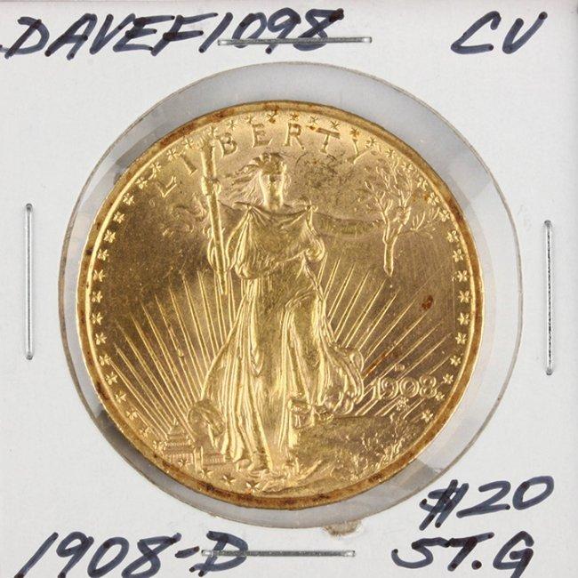 1908-D N/M $20 CU St. Gaudens Double Eagle Gold Coin Da