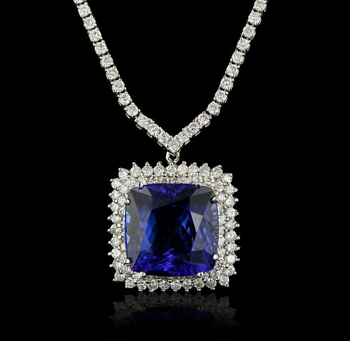18KT White Gold 23.90ct Tanzanite and Diamond Necklace
