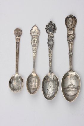Vintage Lot of 4 Sterling Silver Souvenir Spoons ED1387