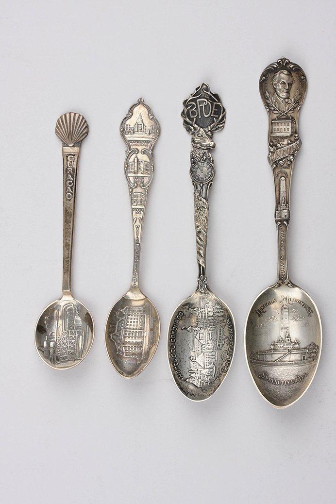 Vintage Lot of 4 Sterling Silver Souvenir Spoons ED1387
