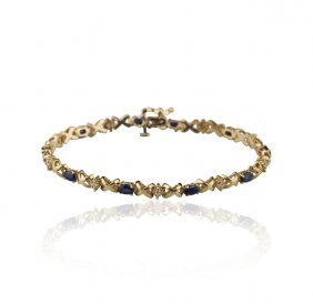 14KT Yellow Gold and Sapphire Bracelet GB999