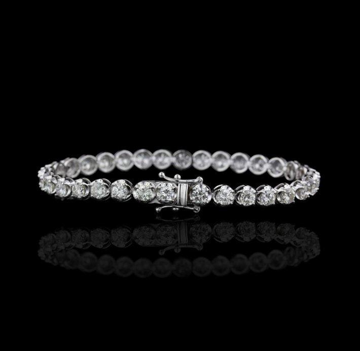 18KT White Gold 9.52ctw SI1-I1/G-I Diamond Tennis Brace - 2