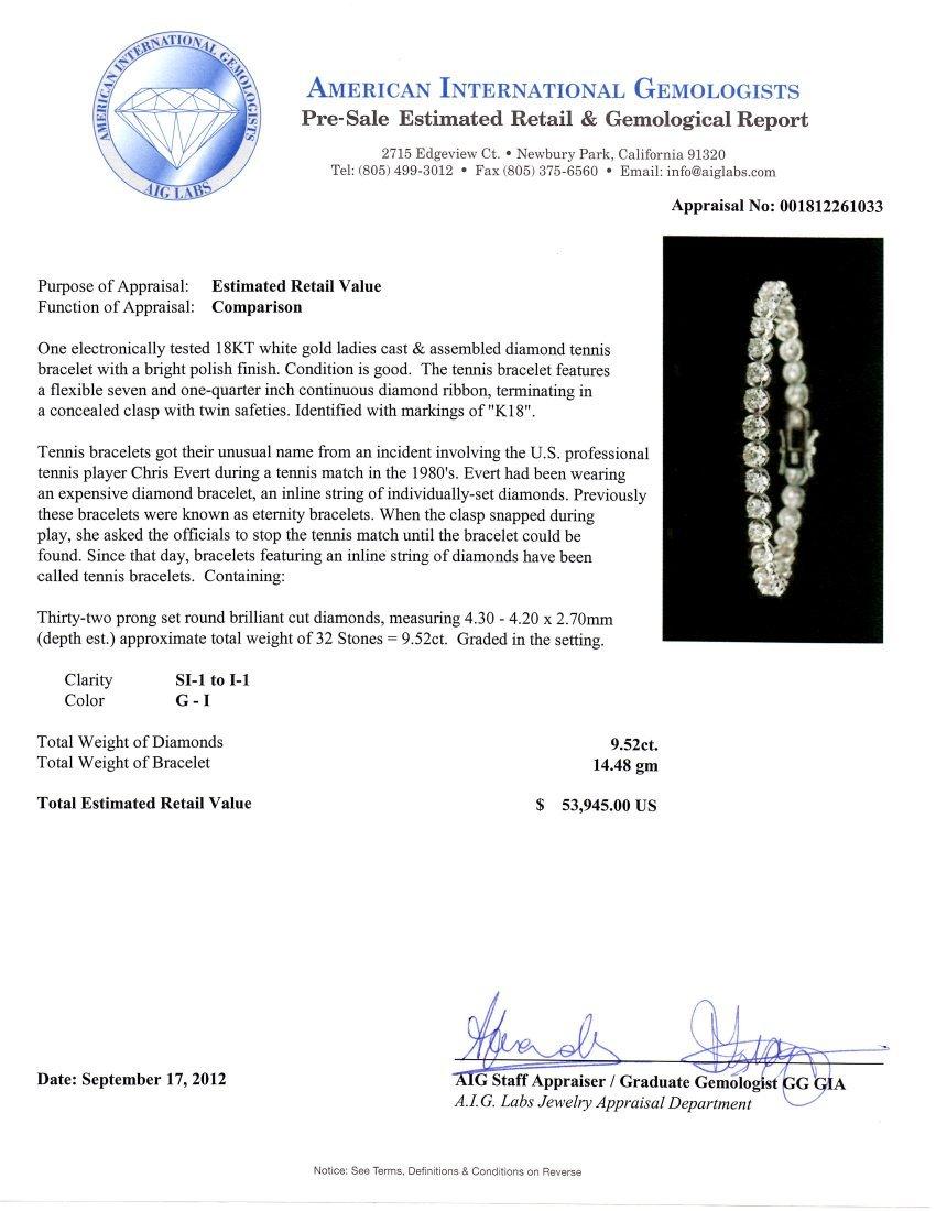 18KT White Gold 9.52ctw SI1-I1/G-I Diamond Tennis Brace - 4