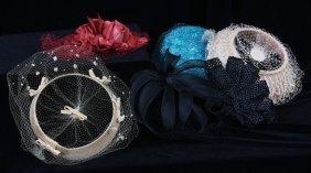 6 Vintage Ladies Velvet Flower Hats w/Netting. ED379