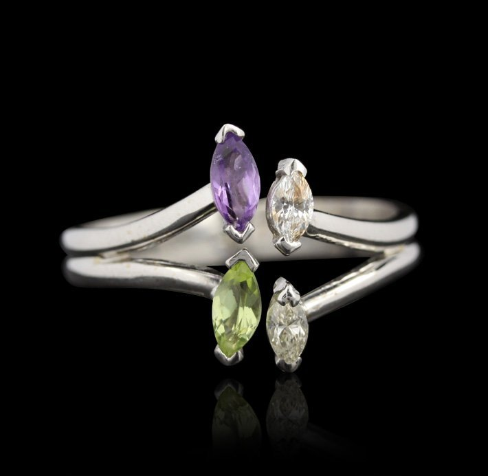 14KT White Gold Peridot, Amethyst and Diamond Ring GD12