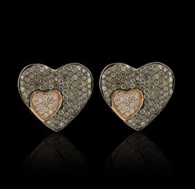 18KT Rose Gold 0.44ctw Fancy Brown and White Diamond Ea