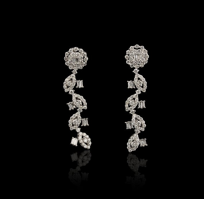 18KT White Gold 2.05ctw Diamond Earrings FJM2134