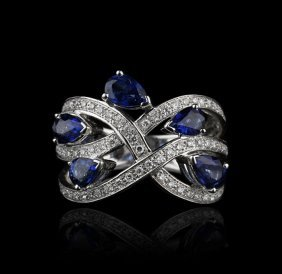 18KT White Gold 2.06ctw Sapphire and Diamond Ring GB757