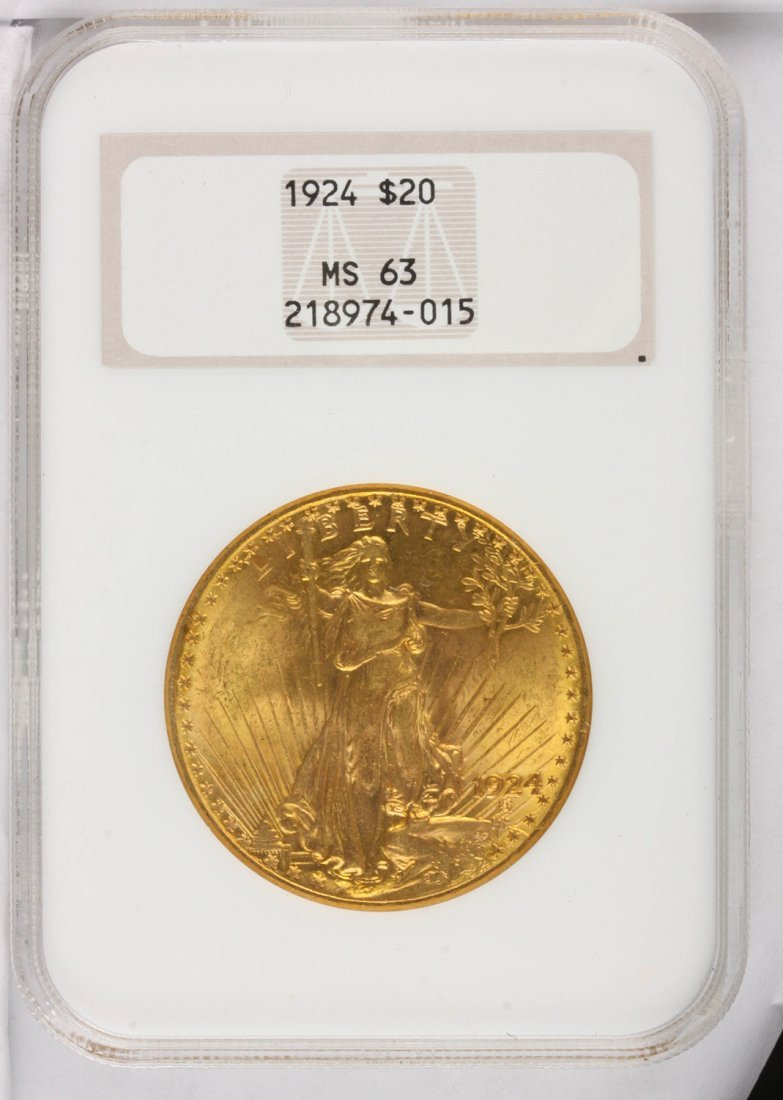 1924 $20 NGC MS63 St. Gaudens Double Eagle Gold Coin Da