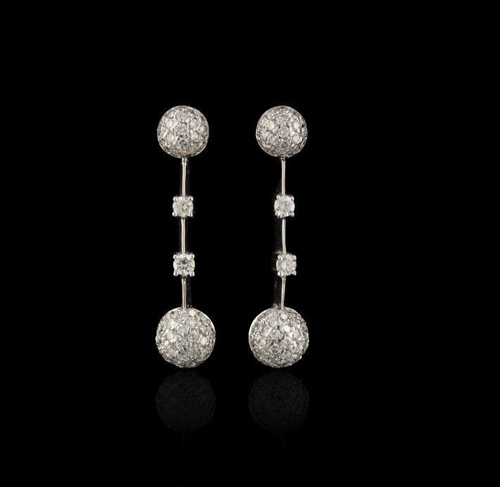 14KT White Gold 1.00ctw Diamond Dangle Earrings GB982
