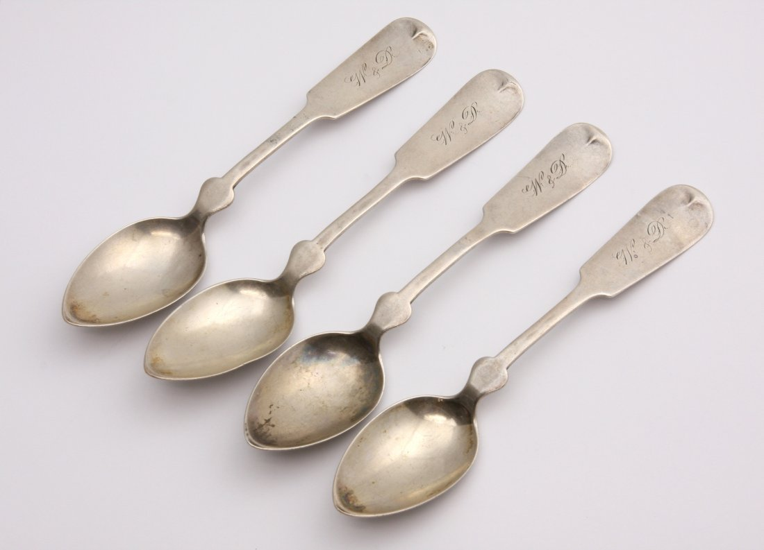 Antique Coin Silver Fiddle Pattern Spoons ED1411