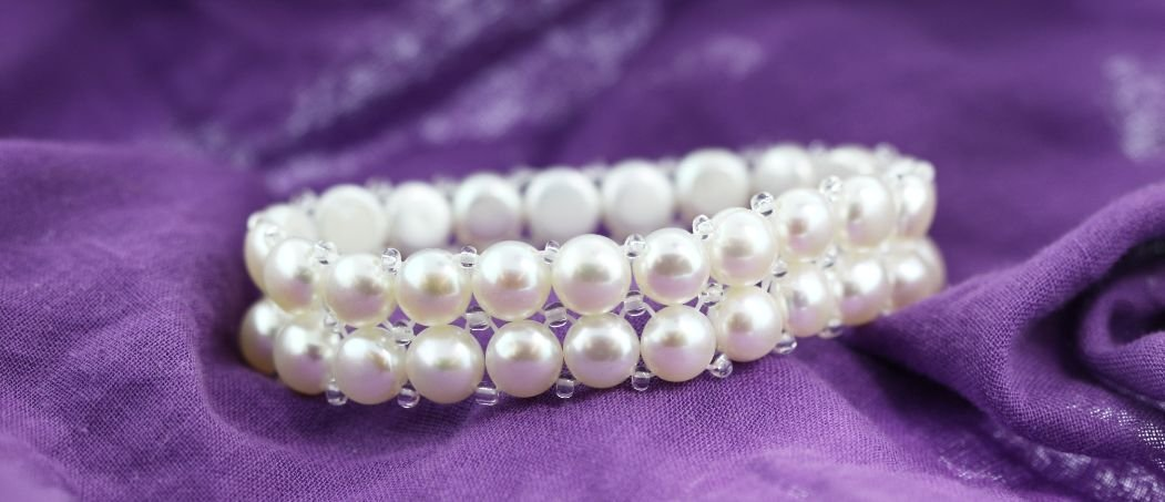 "6.5"" Cultured White Pearl Bracelet PS44"