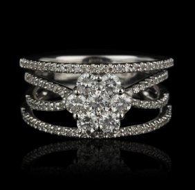14KT White Gold 1.06ctw Diamond Ring FJM2046