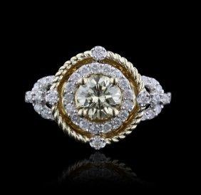14KT White Gold 0.77ct VS1 Yellow Diamond Ring A4407