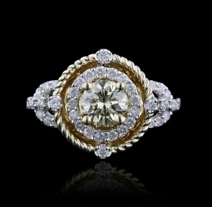 14KT White Gold 0.77ct VS1 Yellow Diamond Ring A4407