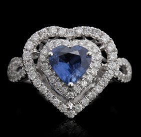 18KT White Gold 1.20ct Sapphire and Diamond Ring FJM249