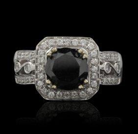 14KT White Gold 3.83ctw Black and White Diamond Ring RM