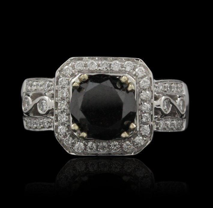 14KT White Gold 3.83ctw Black and White Diamond Ring RM