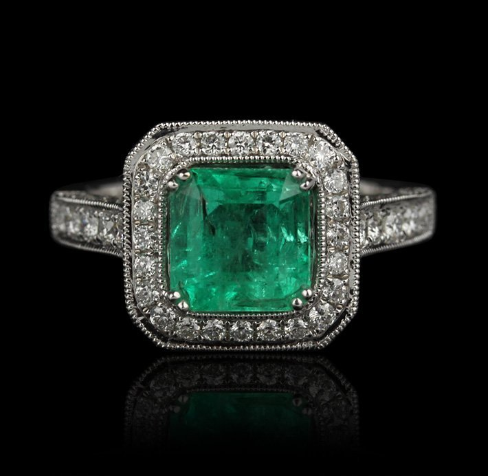 18KT White Gold 1.79ct Emerald and Diamond Ring FJM2009