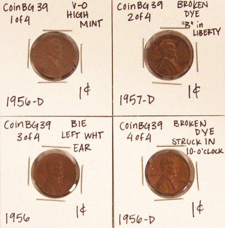 Assorted Lot of 4 Misc Die Breaks CoinBG39