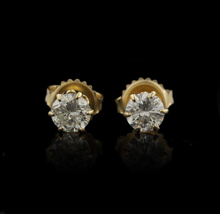 14KT Yellow Gold 0.75ctw Diamond Earrings GB1058